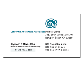 caa california anesthesia associates business card by The Pen Rules